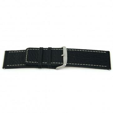 Ægte læderrem til ur sort med hvid syning 26mm EX-H79