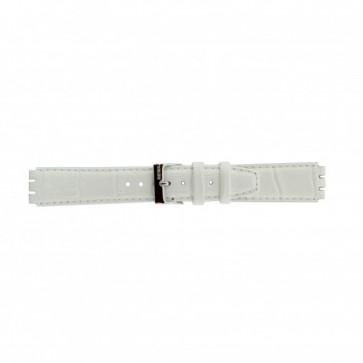 Rem til Swatch ægte læder hvid 17mm 21414