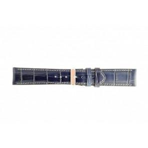 Ægte læder urrem krokodille mørkeblå WP-61324.34mm