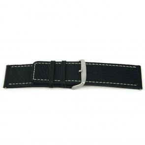 Ægte læderrem til ur sort med hvid syning 22mm EX-H79