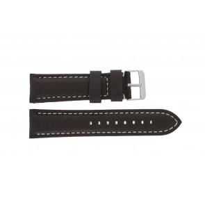 Urrem H038 XL Læder Brun mørk 22mm + syning hvid