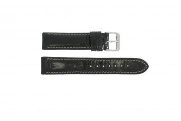 Ægte læder urrem krokodille sort 20mm 61324