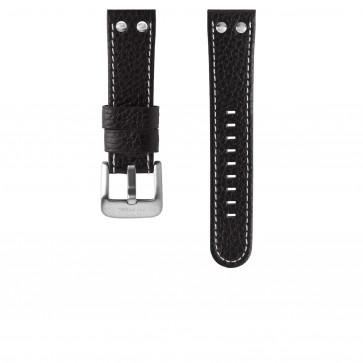 TW Steel urrem TWB02L Læder Sort 24mm + syning hvid