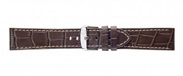 Morellato urrem Plain X4733480032CR24 / PMX032PLAIN24 Krokodille skind Brun mørk 24mm + syning hvid