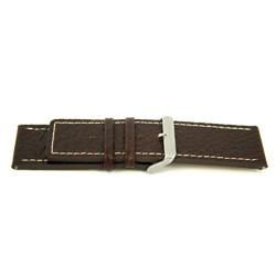 Ægte læderrem til ur brun med hvid syning 30mm H79