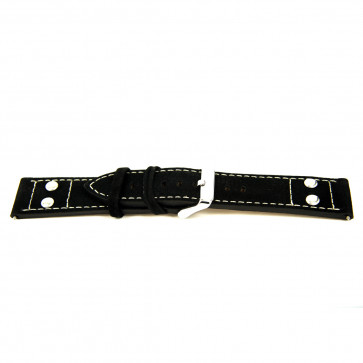 Ægte læder sort 24mm 'grov struktur' EX-K469