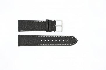 Urrem 307.01 Læder Sort 22mm + syning hvid