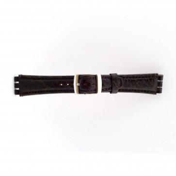 Rem til Swatch ægte læder mørkebrun 19mm 21412