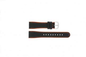 Timex læderem sort med orange 22mm T2M428
