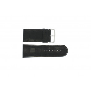 Ægte læder urrem krokodille sort WP-61324.32mm