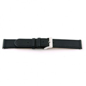 Ægte læderrem til ur 20mm sort med syning EX-J46