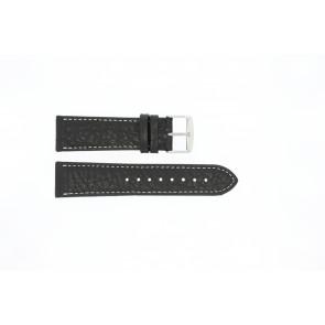 Urrem 307.01 Læder Sort 20mm + syning hvid