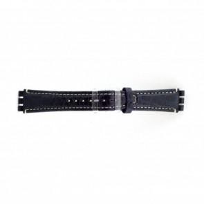 Ægte læder urrem til Swatch krokodille blå 19mm ES- 2.05