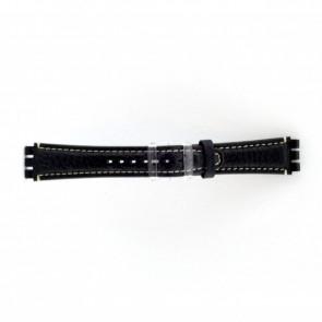 Ægte læder urrem til Swatch mørkeblå / grå 19mm ES- 3.05